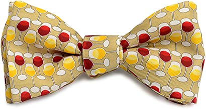 product image for Josh Bach Men's Wine Glasses Self-Tie Silk Bow Tie in Gold, Made in USA