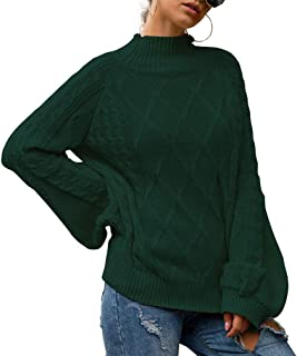 MOLFROA Womens High Neck Loose Sleeve Cable Knit Oversized Sweaters