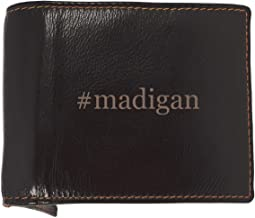 #madigan - Soft Hashtag Cowhide Genuine Engraved Bifold Leather Wallet