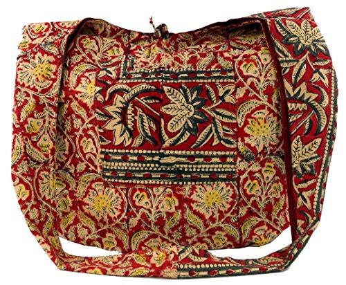GURU SHOP Bolso Sadhu, Bandolera, Bandolera Hippie con Estampado de Bloques - Rojo/beige, Unisex - Adultos, Multicolor, Algodón, Tama�o:One Size, Bolsas de Hombro