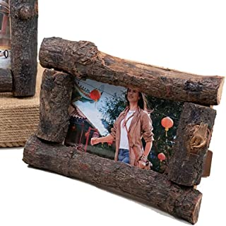 Wilderness Bay Real Wood Log Branch Picture Frame, Wall or Tabletop, Vertical or Horizontal (4x6)