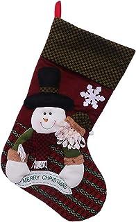 Negaor Christmas Candy Tote Bag Snowman Santa Claus Elk Pattern Reusable Tote Bags Gift Tote Bag Socks Happy Halloween Tri...