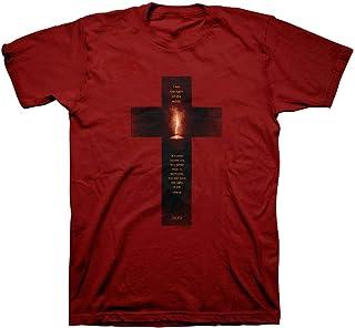 Kerusso Men`s Light of The World Cross T-Shirt - Cardinal -