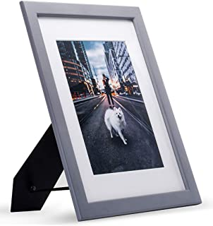 JD Concept 8.5x11 Grey Wood Modern Picture Frame with Glass Front, for 6x8 with Mat or 8.5 x 11 Without Mat, for Document,Diploma,Certificate,Artwork,Prints or Photo