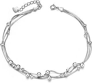 SHEGRACE Delicate Bracelet de Cheville avec Trois Chaine Femme en Pur Argent 925 Sterling,Orenemnt des Perles Petits Simple