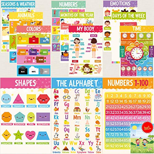 12 Pack Alphabet Poster w/ Free Coloring Folder | ABC Posters for Wall | Educational Posters | Days of the Week Poster | ABC Chart for Wall for Toddlers | ABC Poster | Alphabet Chart | Classroom Posters | Kids Posters I Fully Laminated 11 x 17 Inches