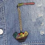 Lovejoy Store Jacken-Brosche, japanische Nudeln, Emaille, Brosche mit Kette, Jeansjacke, Kragen, Rucksack, Abzeichen, Mehrfarbig