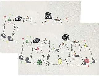 ランチョンマット 子供用 小学校 2枚セット 男の子 女の子 テーブルマット プレースマット 撥水 防汚 滑り止め 断熱 お手入れ簡単 PVC 抗菌 無臭 颜色 絵 猫(cat)x2
