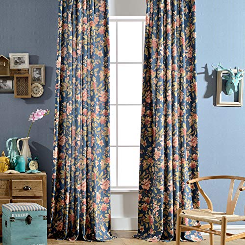 Melodieux Blooming Flower Print Vintage Style Room Darkening Grommet Curtain Drapes for Living Room Bedroom Dining Room, 52 by 84 Inch, Navy (2 Panels)