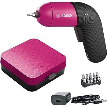 Bosch Akkuschrauber IXO (6. Generation, pink, integrierter Akku mit Mikro-USB-Lader, variable Drehzahlregelung, in Aufbewahrungsbox)