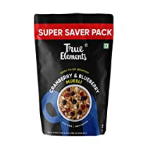 [LD] True Elements Cranberry and Blueberry Muesli 1.2kg – Cereal For Breakfast, Berries Muesli, Super Saver Pack