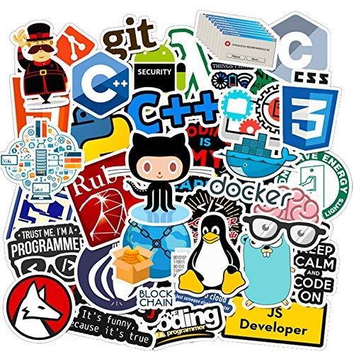 XXCKA 50 Uds, Programador de Internet Java, Pegatinas Friki, Graffiti, teléfono, Snowboard,...