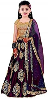 Sarth Fashion Embroidered Work Girl's Tafetta silk Semi-Stitched girl's Lehenga Choli for 8-13 Year Girls