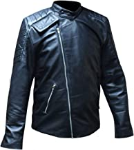 LP-FACON Mens Luke Perry Tribute Black Quilted Motorbike Leather Jacket