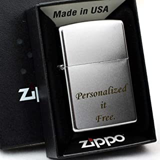 Free Engraving, Groomsmen Zippo Lighter Perfect for Boyfriend, Anniversary Gifts (Satin Chrome 205)