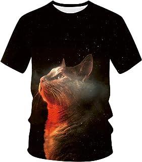 Camisetas para Hombre y Mujer,Unisex 3D Patrón Impreso T-Shirt Primavera y Verano Manga Corta Blusa para Hombre Blusa Moda...