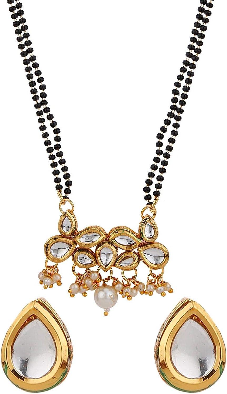 Efulgenz Mangalsutra Indian Jewelry Boho Antique Kundan Crystal Gold Plated Beaded Pendant Necklace Stud Earring Set