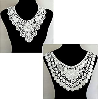 2 Pcs White Lace Collar Sexy Style Flower and Heart Venetian Lace Decoration Decoration Lace Fabric Sewing Accessories DIY (Color 3)