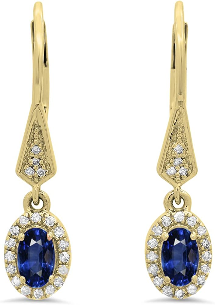 Dazzlingrock Collection 10K Ladies SEAL limited product Halo Style Earr Dangling Drop Superior