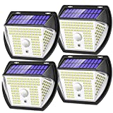 Solar Lights Outdoor, RJFOYB 4 Pack 138 LED Solar Motion Sensor Lights Outdoor, 3 Modes Solar Security Lights, 270°Wide Angle, IP65 Waterproof Wireless Solar Powered Wall Lights for Yard Garage Patio