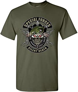 Special Forces T-Shirt Army Silent Death Green Berets Skull Mens Tee Shirt