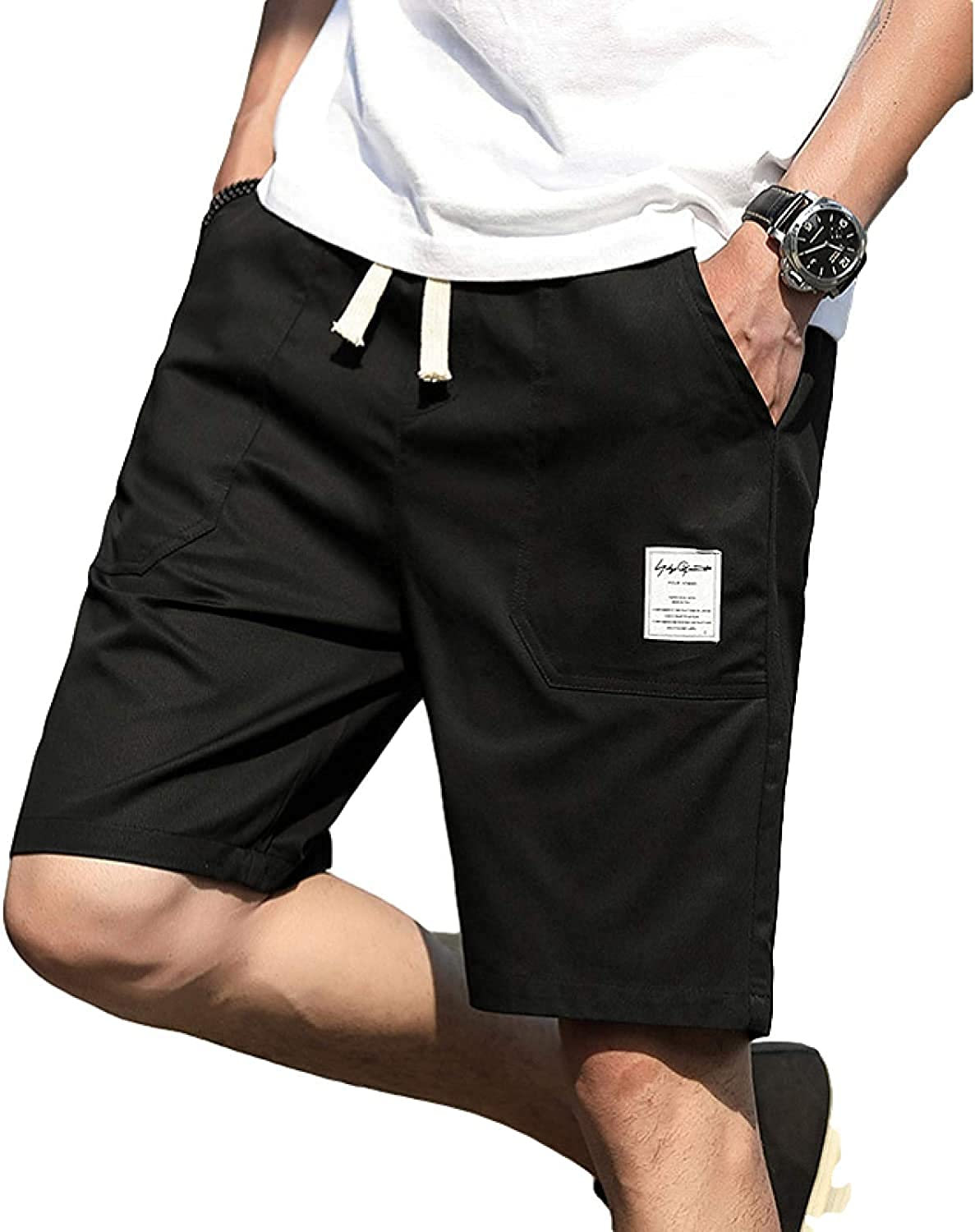 Men's Shorts Fashion Solid Color Simple Leisure All-Match Comfortable Outdoor Black