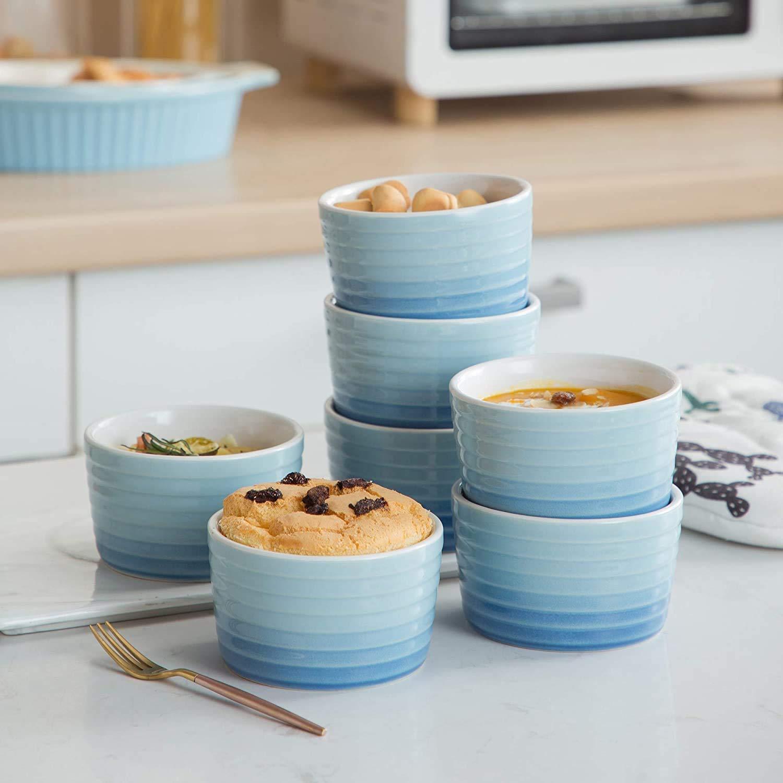 Porzellan Mini Souffléförmchen Set 11cm MALACASA 12 tlg Serie Ramekin.Dish