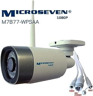 Microseven(2019)HD 1080P/30fps [WiFi+PoE] Two-Way Audio,Built-in Amplified Mic &Speaker, Alexa,Outdoor IP Camera,128GB Slot, Day&Night(IR lights On/Off), Web GUI&Apps,VMS,Free 24hr Cloud Storage,Onvif