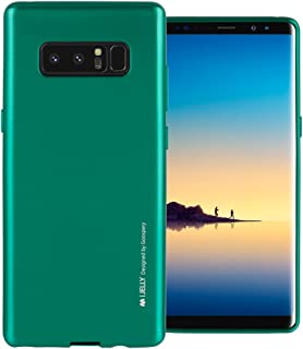 Galaxy Note 8 Case with Free Screen Protector, [Shockproof] GOOSPERY i-Jelly TPU Case [Thin and Slim] Flexible Bumper Cover for Samsung GalaxyNote8 - Metallic Green, NT8-IJEL/SP-GRN
