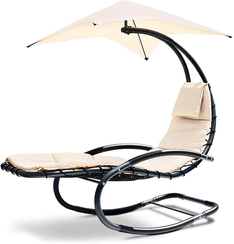 Rocking Chair Sun Lounge Outdoor Furniture Garden Patio Pool-Beige