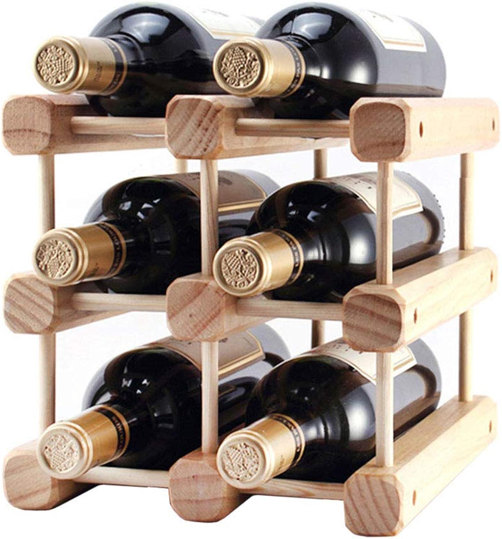 LXLA- Tablero De 6 Botellas Wine Rack Stand Soporte De Exhibición De Vino Libre Estante Decoraciones De Madera Sólida (Tamaño   9 Roots)