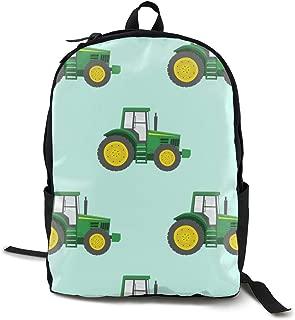 Green Tractors On Blue - Farm Fabrics Adult Premium Travel Backpack, Water-Resistant College School Bookbag, Sport Daypack, Outdoor Rucksack, Laptop Bag for Men&Women