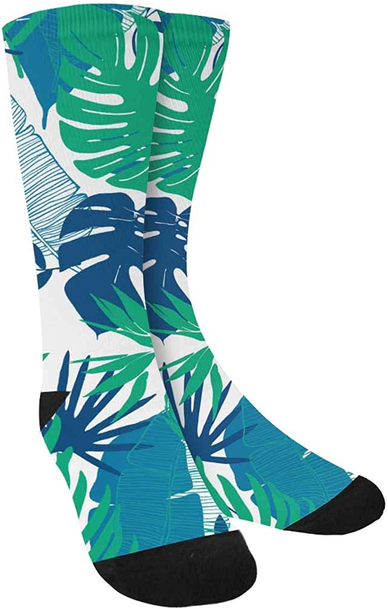 INTERESTPRINT Tropical Flowers, Palm Leaves, Monstera Athletic Socks with Cute Design for All Ages Men and Women, Teen