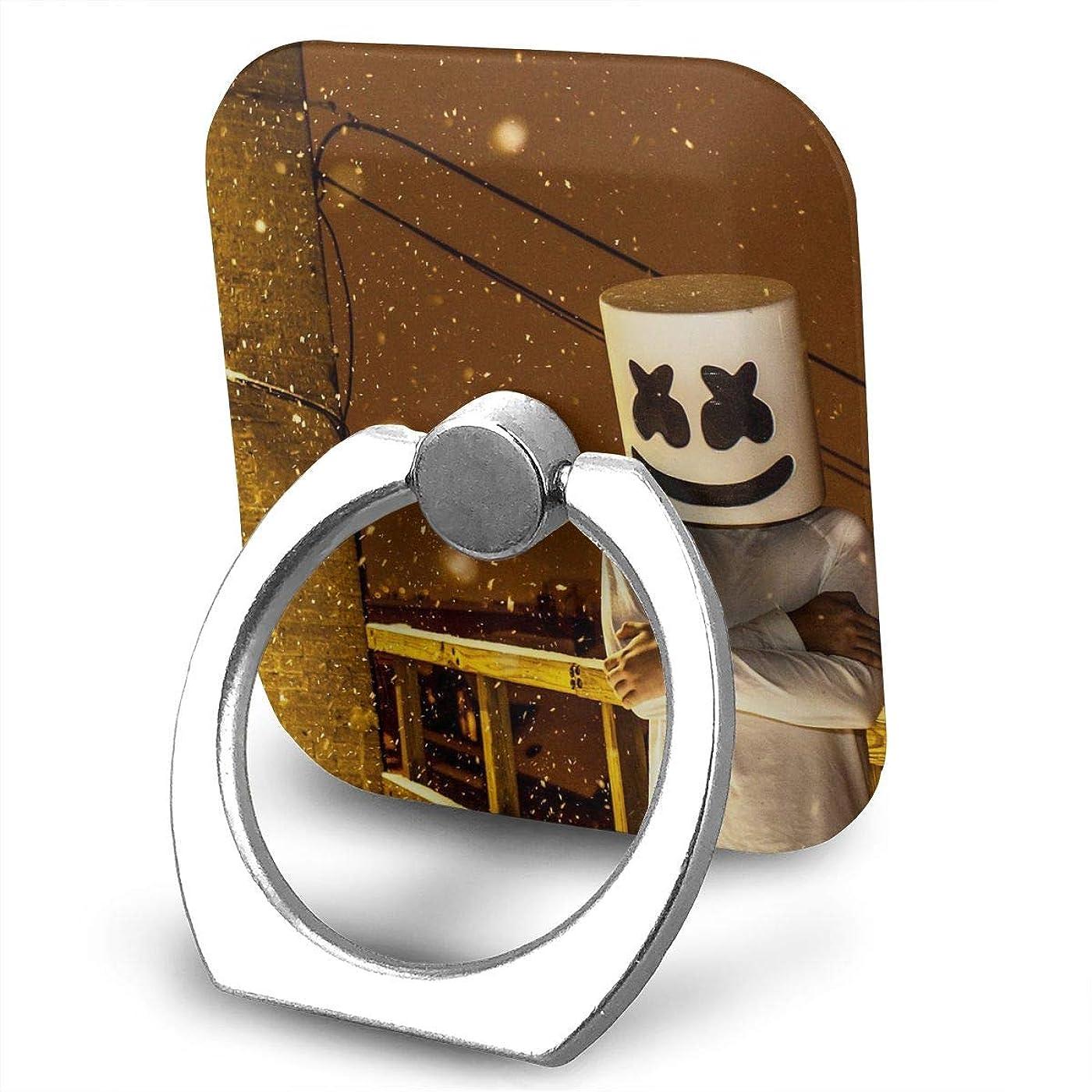 銅リフレッシュ展示会Greatayifong マシュメロ Marshmello バンカーリング スマホ リング おしゃれ ホールドリング 薄型 スタンド機能 ホルダー 落下防止 軽い 360 回転 IPhone/Android各種他対応 (シルバー)