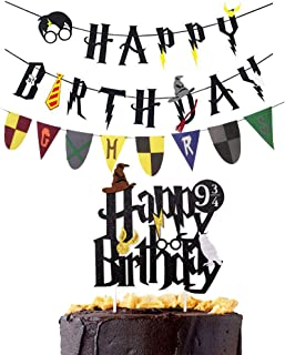 Harry Potter Happy Birthday Banner Party Supplies Four colleges Banner Happy Birthday Cake Topper Felt Garland Party Decoration