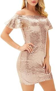 GRACE KARIN Vestido de Mujer con Lentejuelas Vestido de Tubo Diseño Hombros Descubrimiento Sexy Elegante