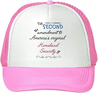 Trucker Hat The Second Amendment America's Original Homeland Security. Polyester Baseball Mesh Cap Snaps Pink One Size