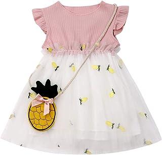 Genlei 2PCS Baby Girl Pineapple Princess Tutu Dress Toddler Kids Sundress Summer Sleeveless Cute Clothes 6M-3Y