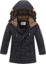 Mallimoda Boys' Hooded Down Coats Winter Warm Jacket Solid Puffer Coat