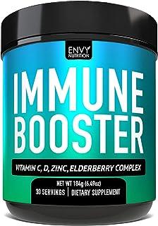 Immune Booster Powder – Vitamin C, Magnesium, Vitamin D, Zinc, Elderberry, Echinacea, Mushroom Blend for Immune Support | ...