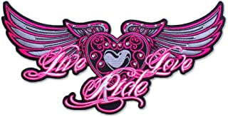Womens Biker Patches: Live Love Ride Embroidered: Five Colors, Two Sizes