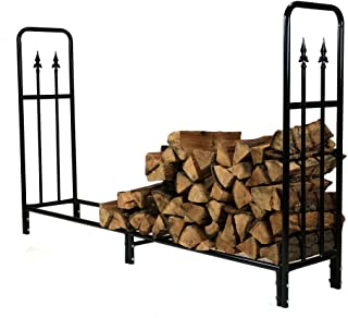 Sunnydaze 6-Foot Decorative Firewood Log Rack, Indoor/Outdoor Wood Storage Holder, Black