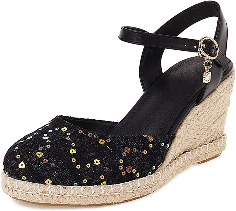 Platform Sandals for Women Mail order specialty shop cheap Espadrilles Cutout Closed PU Leather