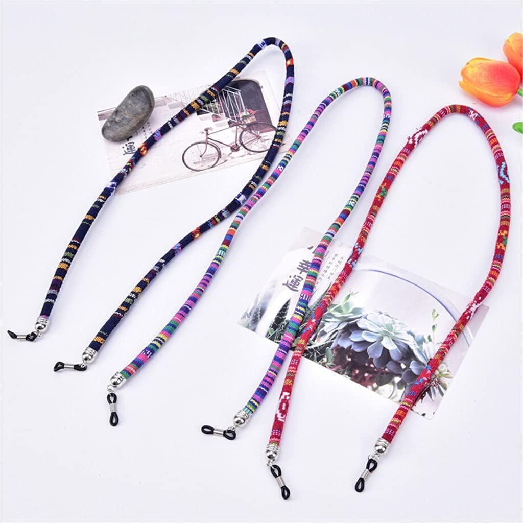 YFQHDD 5pcs Random Color Men Women Ethnic Style Multi Color Glasses Rope 6mm Sunglasses Neck Cord Strap Eyeglass String Holder