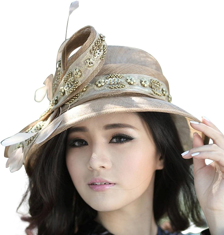 June's Young Women Hat Ladies Sinamay Hat Wide Brim Sun Hat
