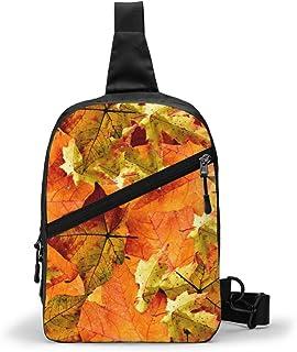 Hermoso paquete de pecho de hojas de otoño multipropósito Crossbody bolsa de hombro al aire libre mochila mochila de gran capacidad casual deporte mochila para senderismo viaje deporte