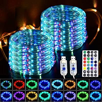 GLPE LED Rope Lights, 2 Pack X 33ft 100 LEDs Outdoor Rope Lights Waterproof 16 Color Changing Multicolor with Remote, Fairy Rope Lights USB Powered for Christmas Indoor Garden