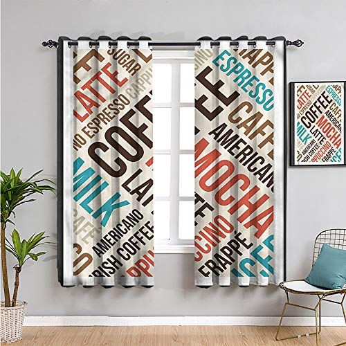 Coffee Black Out Curtains for Bedroom, Curtains 72 inch Length Cappuccino Mocha Espresso Cafe Curtain W72 x L72 Inch