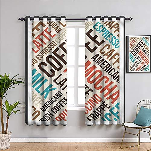 SONGDAYONE café insonorizado privacidad cortinas de ventana, cortinas de 213 cm de longitud capuchino moca espresso fácil de instalar W108 x L84 pulgadas