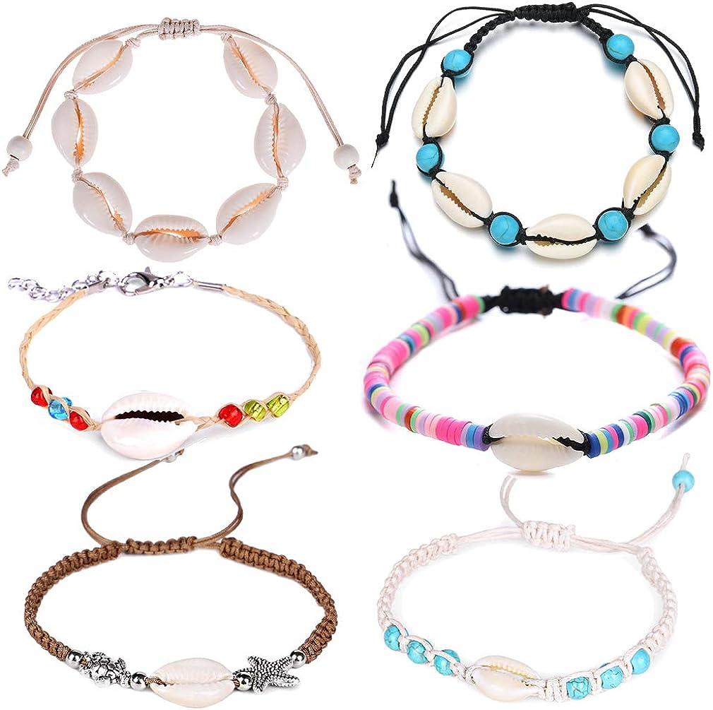 Alodidae Natural Cowrie Shell Ankle Bracelets Set, Adjustable Handmade Puka Shell Anklet Seashell Bracelet for Women Girls